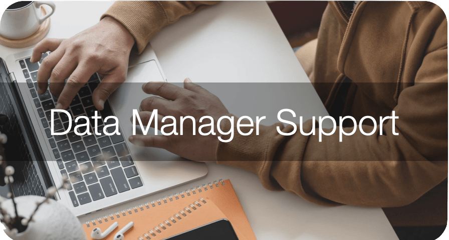 kready support data manager support top banner. Image of person with hands hovering over laptop computer keyboard sitting on a desk